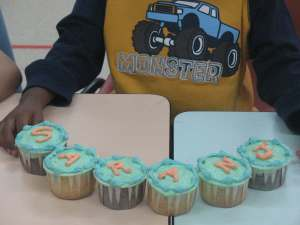 His name on the cupcakes!