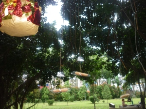 'Fire' piñata and bread parachutes